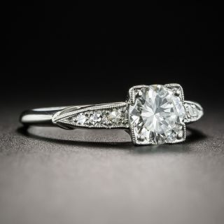 Vintage .90 Carat Diamond Platinum Engagement Ring