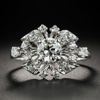 Vintage .95 Carat Center Diamond Platinum Ring - 2