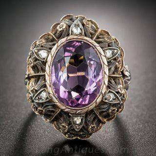 Vintage Amethyst and Diamond Italianate Motif Ring - 1