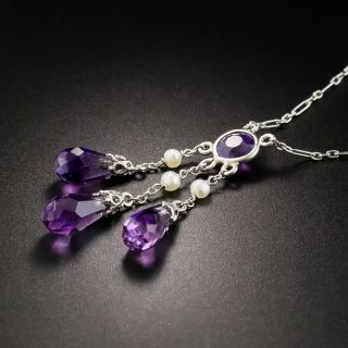 Vintage Amethyst and Seed Pearl Drop Necklace