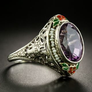 Vintage Amethyst Enamel and Seed Pearl Ring