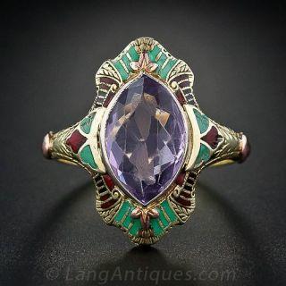 Vintage Amethyst Enameled Ring