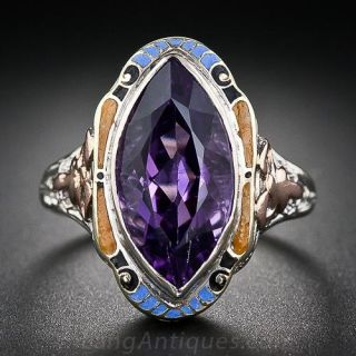 Vintage Amethyst Two-Tone Gold and Enamel Ring