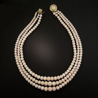 Vintage Angel Skin Coral Triple Strand Necklace - 3