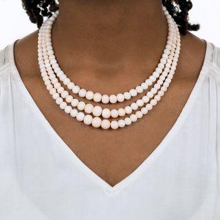 Vintage Angel Skin Coral Triple Strand Necklace
