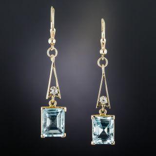 Vintage Aquamarine and Diamond Dangle Earrings