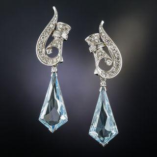 Vintage Aquamarine and Diamond Drop Earrings - 1