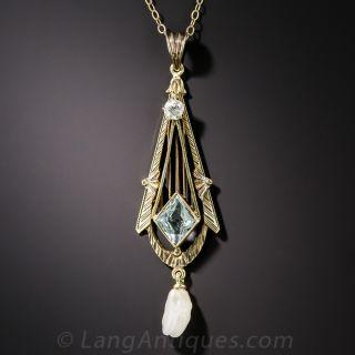 Vintage Aquamarine, Diamond and Pearl Drop