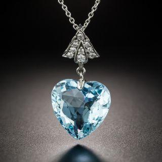 Vintage Aquamarine Heart Diamond Platinum Pendant - 3
