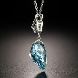 Vintage Aquamarine Heart Diamond Platinum Pendant