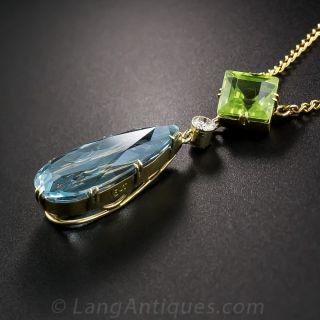 Vintage Aquamarine, Peridot and Diamond Pendant