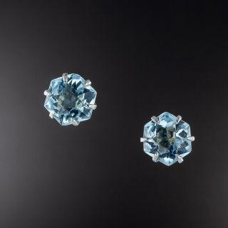 Vintage Aquamarine Stud Earrings - 1