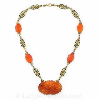 Vintage Art Deco Carnelian Necklace