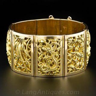 Vintage Asian Plaque Bracelet - 1