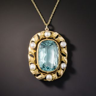 Vintage Blue Glass and Natural Button Pearl Pendant - 1