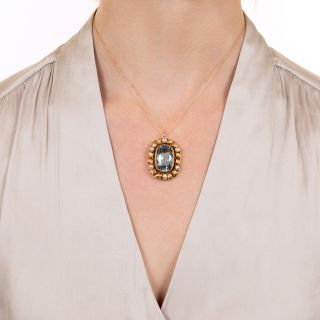 Vintage Blue Glass and Natural Button Pearl Pendant