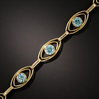 Vintage Blue Zircon Link Bracelet  - 2