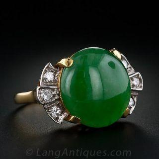 Vintage Burmese Jade and Diamond Ring