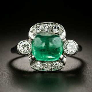 Vintage Cabochon Emerald and Diamond Ring - 2