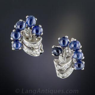 Vintage Cabochon Sapphire Platinum Diamond Earrings - 1