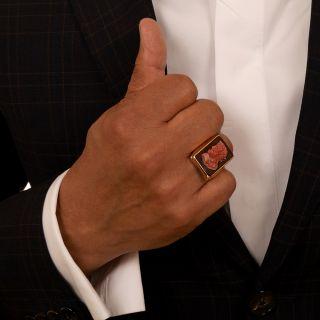 Vintage Carnelian Hardstone Cameo Ring