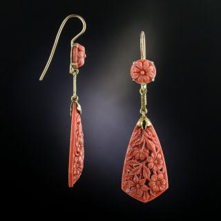 Vintage Carved Coral Drop Earrings - 2