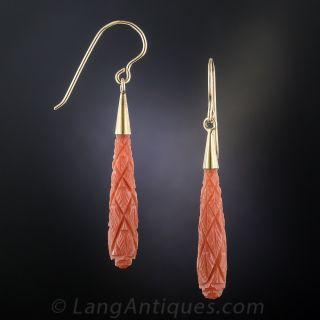 Vintage Carved Coral Drop Earrings