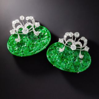 Vintage Carved Jade and Diamond Clips - 1