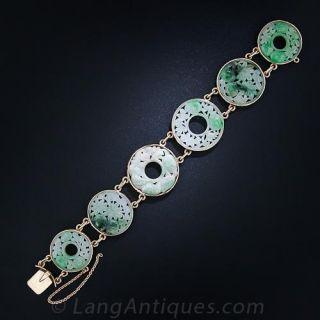 Vintage Carved Jade Bracelet