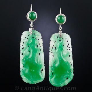 Vintage Carved Jade Drop Earrings - 1