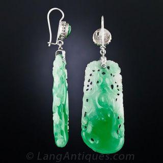 Vintage Carved Jade Drop Earrings