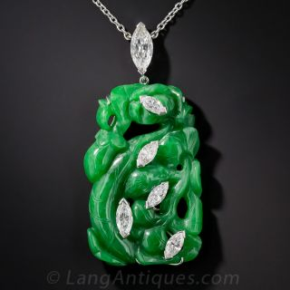 Vintage Carved Natural Jade and Diamond Pendant Necklace - 1
