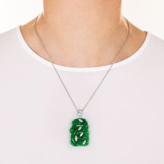 Vintage Carved Natural Jade and Diamond Pendant Necklace
