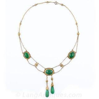 Vintage Chinese Jadeite Negligee Necklace