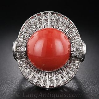 Vintage Coral and Diamond Cocktail Ring - 1