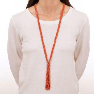 Vintage Coral Bead Sautoir Tassel Necklace