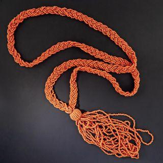 Vintage Coral Bead Sautoir Tassel Necklace - 2