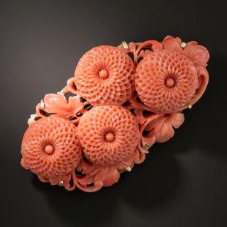 Vintage Coral Chrysanthemum Brooch - 2