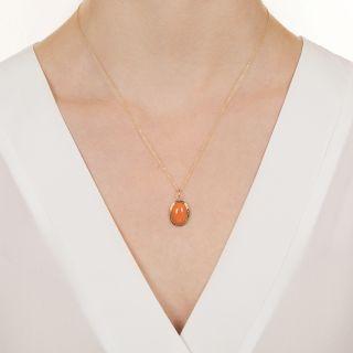 Vintage Coral Drop Necklace