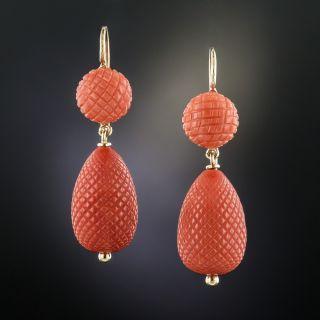 Vintage Coral Pineapple Earrings - 2