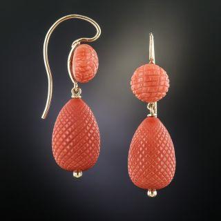 Victorian Coral Pineapple Earrings