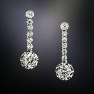 Vintage Deco Diamond Dangle Earrings - 3
