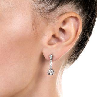 Vintage Deco Diamond Dangle Earrings