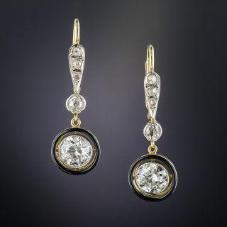 Vintage Diamond and Black Enamel Drop Earrings - 1