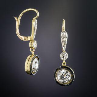 Vintage Diamond and Black Enamel Drop Earrings