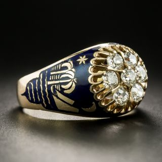 Vintage Diamond and Enamel Cluster Ring From Soviet Russia