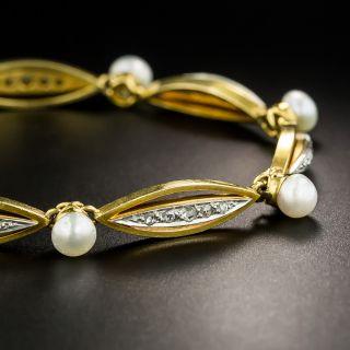 Vintage Diamond and Natural Pearl Bracelet