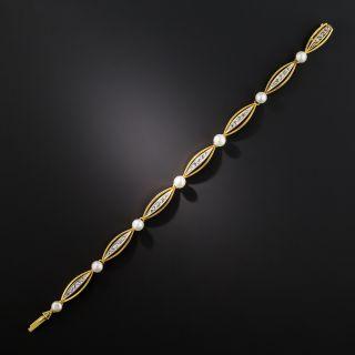 Vintage Diamond and Natural Pearl Bracelet, Circa 1900
