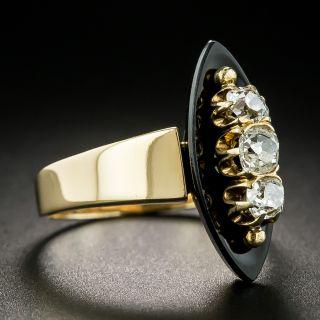 Vintage Diamond and Onyx Navette Ring