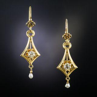Vintage Diamond and Pearl Drop Earrings - 2